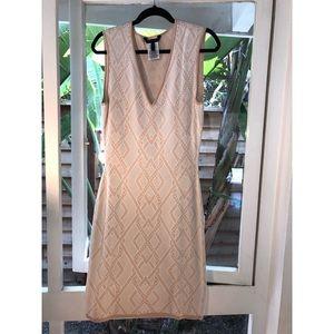 BCBG Pink & Cream Bandage Dress